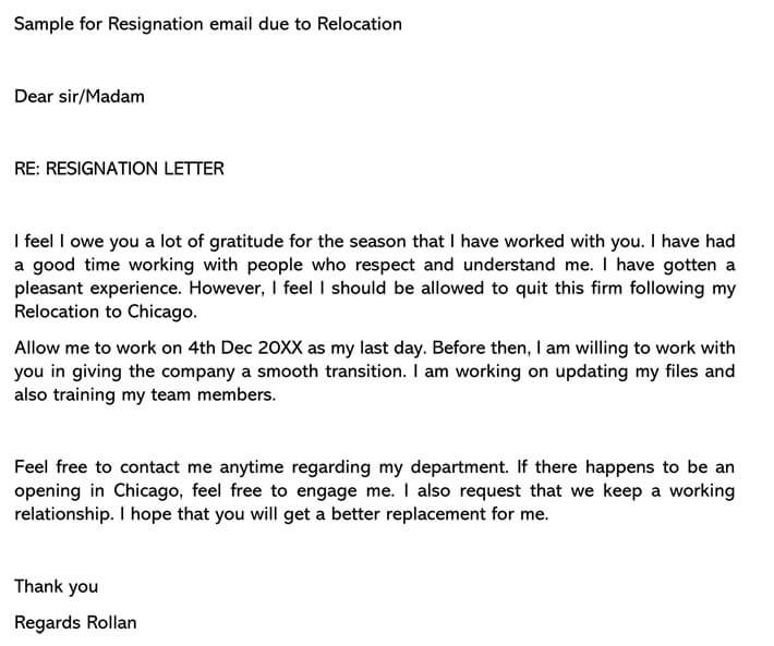 Resignation Letter due to Relocation Email example