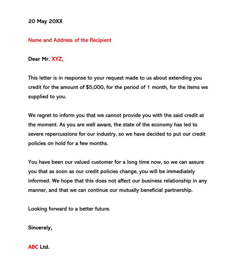 Sample of Credit Refusal Letter 01