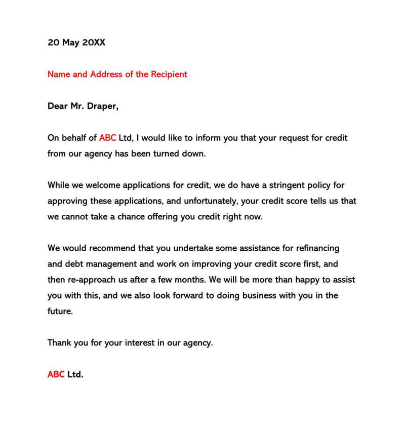 Sample of Credit Refusal Letter 02