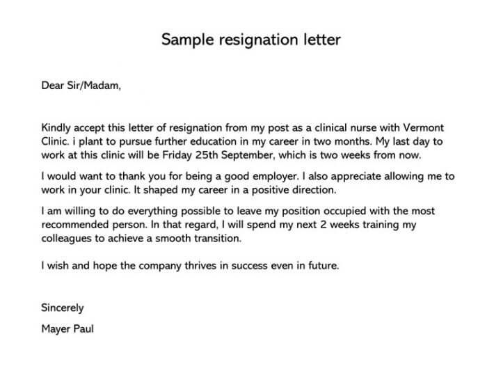 1 Week Resignation Letter from www.wordtemplatesonline.net