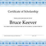 Sample scholarship award certificate template