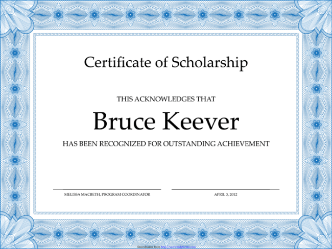 Sample Scholarship Award Certificate Template