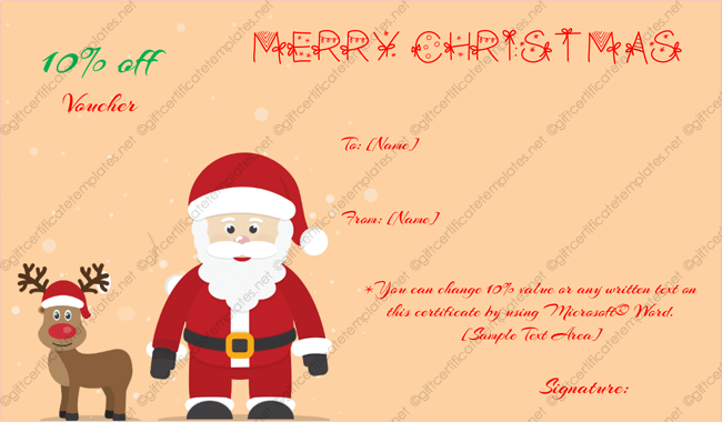 Santa And Randeer Gift Certificate Template Word  Gift Voucher Template Word