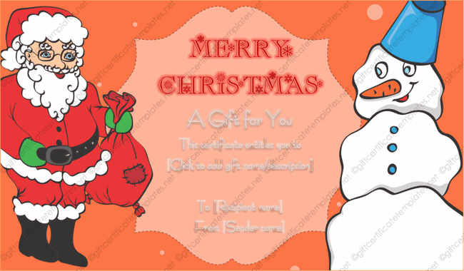 24 christmas new year gift certificate templates santa and snowman gift voucher template yadclub Images