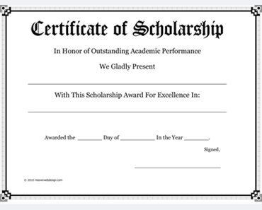 Wonderful 5+ Scholarship Award Certificate Examples For Word And PDF Regard To Certificate In Word