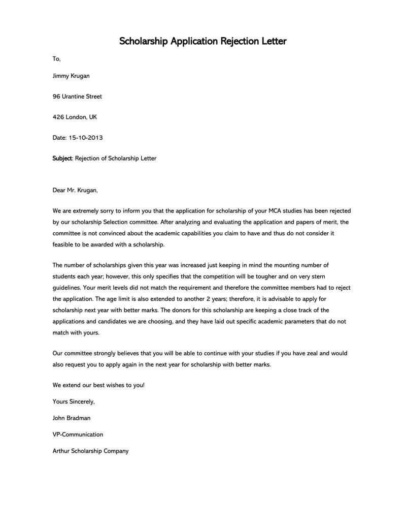 Scholarship-Award-Rejection-Letter Template Letters Proposal Decline on debt proposal letter, reject proposal letter, renewal proposal letter, rfp rejection letter, change proposal letter, proposal refusal letter, request for proposal rejection letter, vendor rejection letter, decline business proposal, increase proposal letter, decline position letters samples, parts of a proposal letter, polite rejection letter,