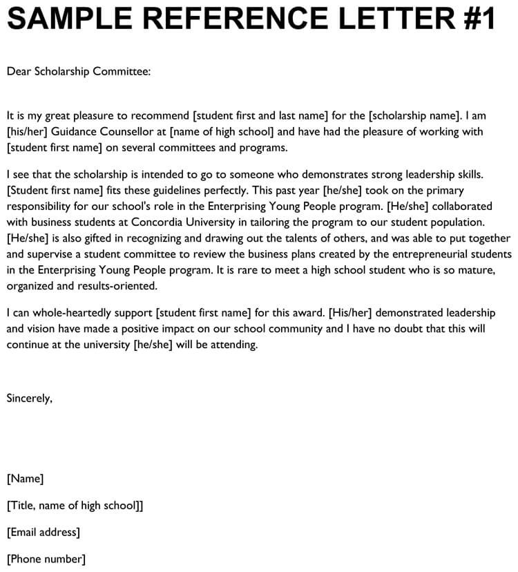 Sample Letter Of Recommendation For High School Students
