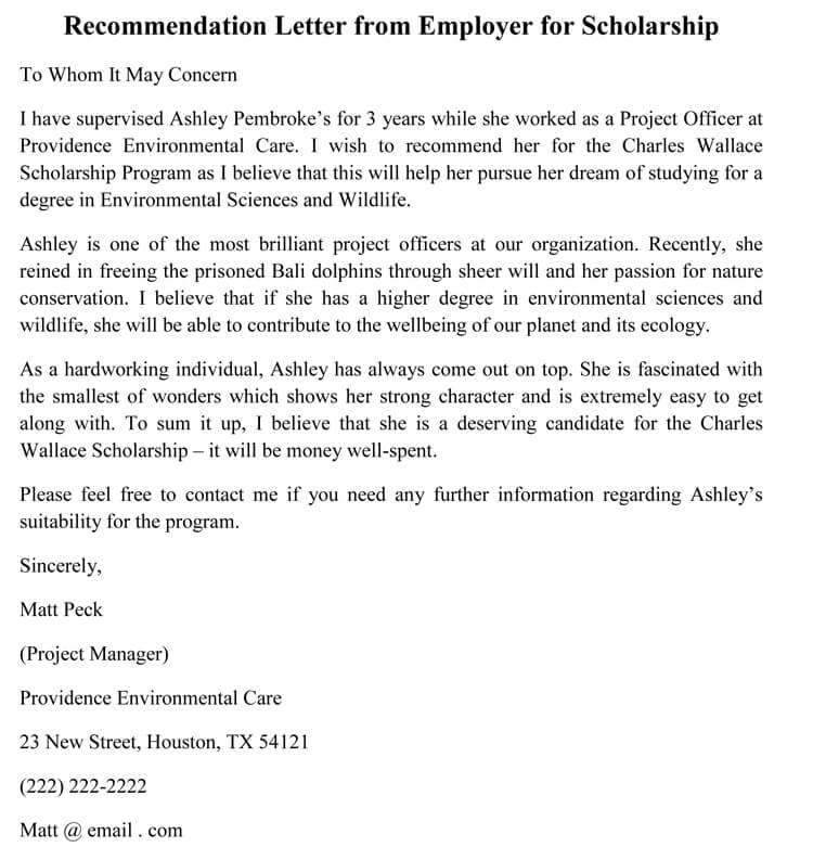 recommendation for scholarship