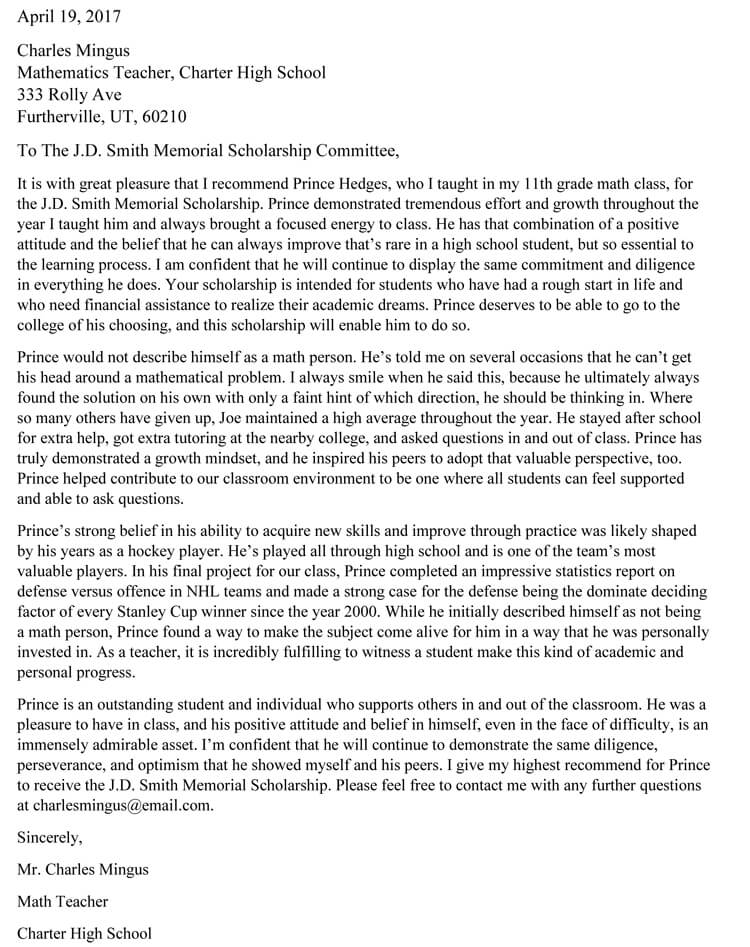 Letter Of Recommendation For A Highschool Student From A Teacher from www.wordtemplatesonline.net