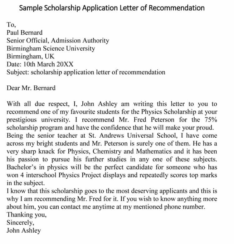 how to write a letter of recommendation for a scholarship