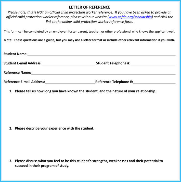 scholarship reference letter sample