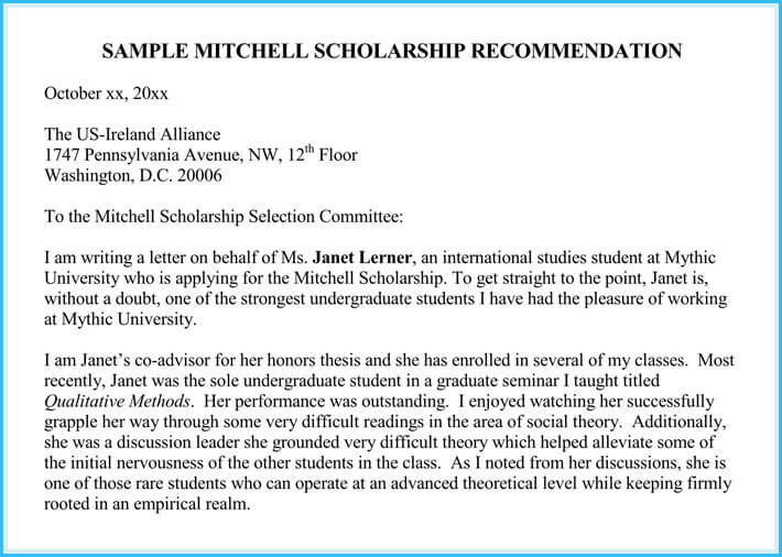 Scholarship Reference And Recommendation Letters Best Samples