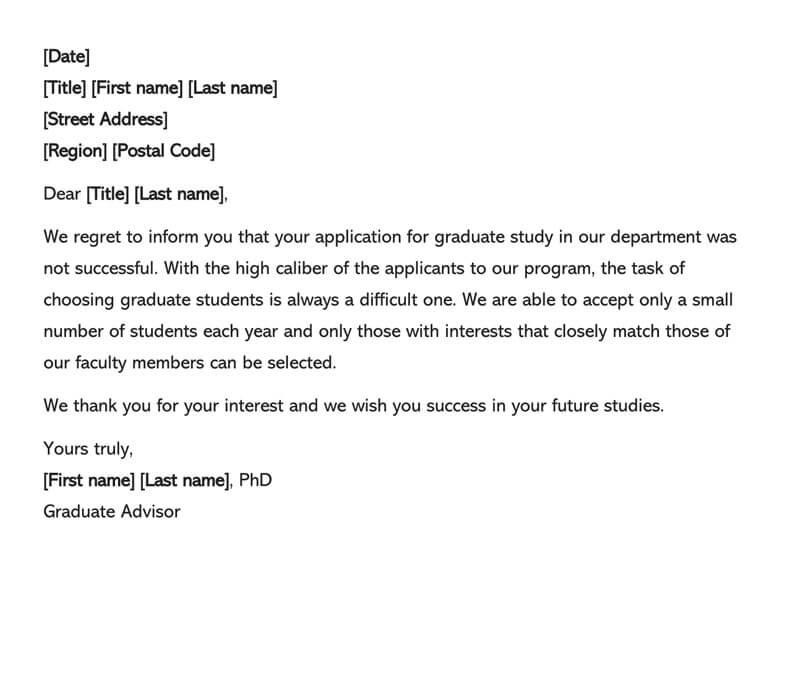 Scholarship Refusal Letter 13