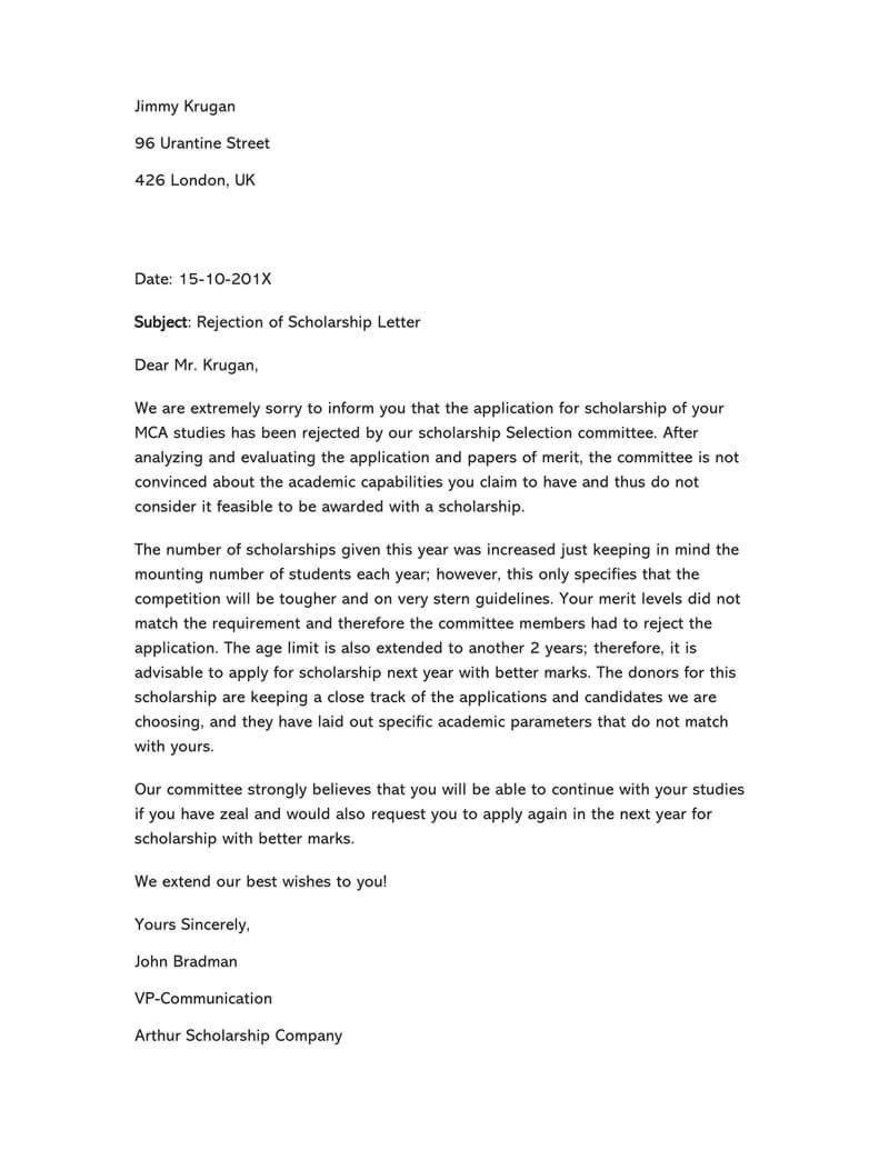 Scholarship Refusal Letter 14