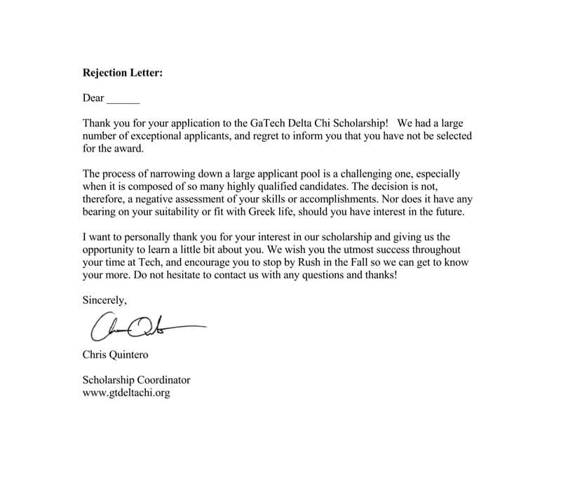 Scholarship Rejection Letter Sample