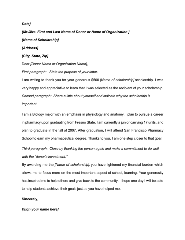 Scholarship thank you letter 9 samples examples and formats scholarship thank you letter for word expocarfo
