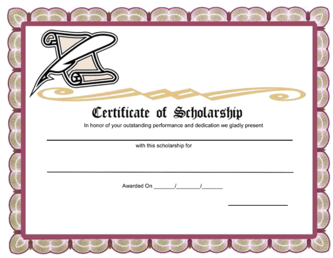 Scholarship award certificate template for Word