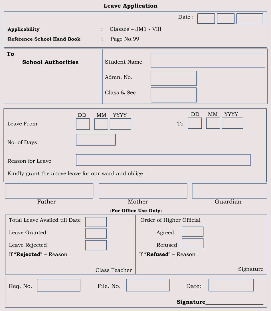 Blank leave application form templates 8 pdf samples school leave application form thecheapjerseys Choice Image