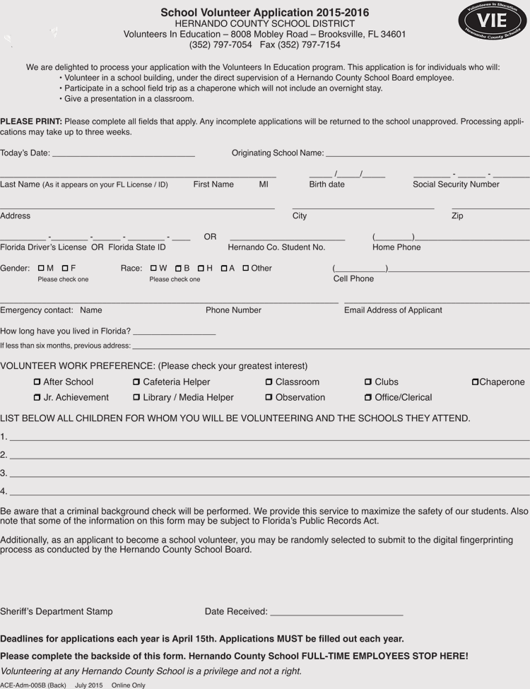 Volunteer Application Form Word Doc