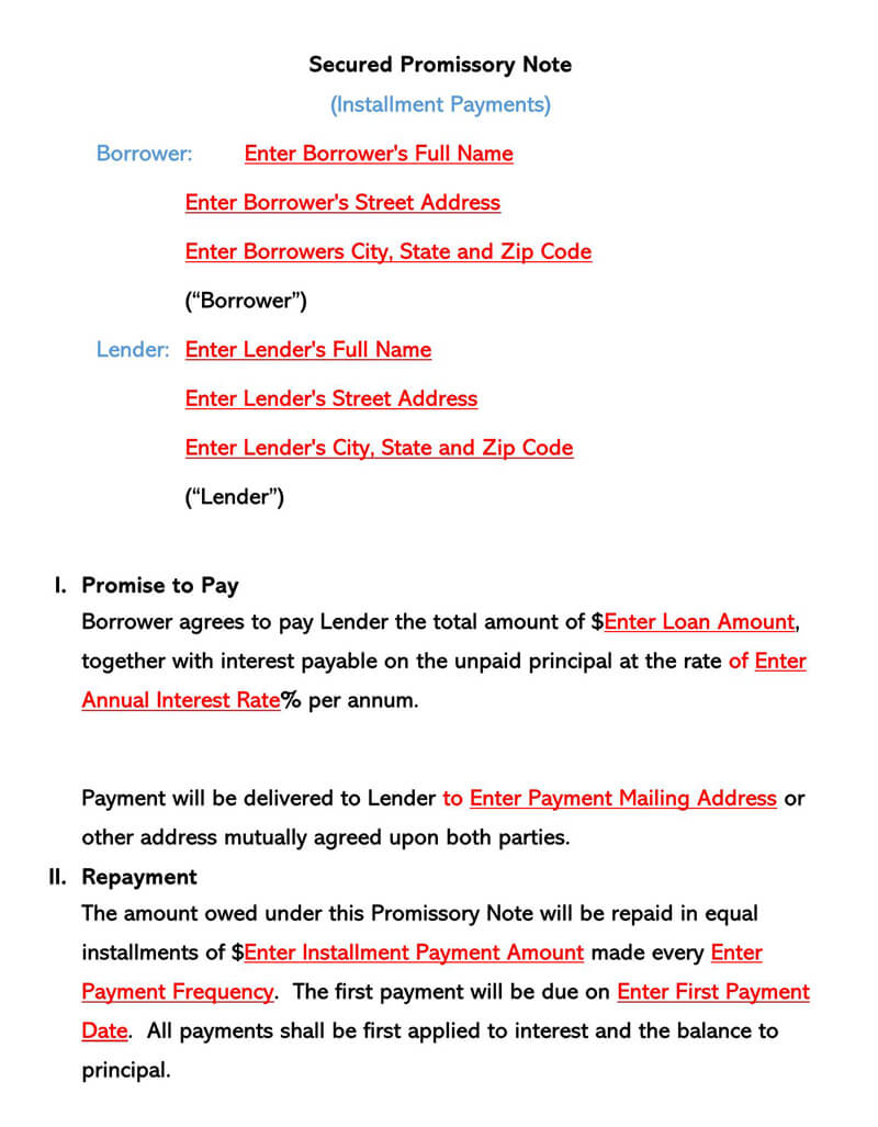 Secured Promissory Note Form