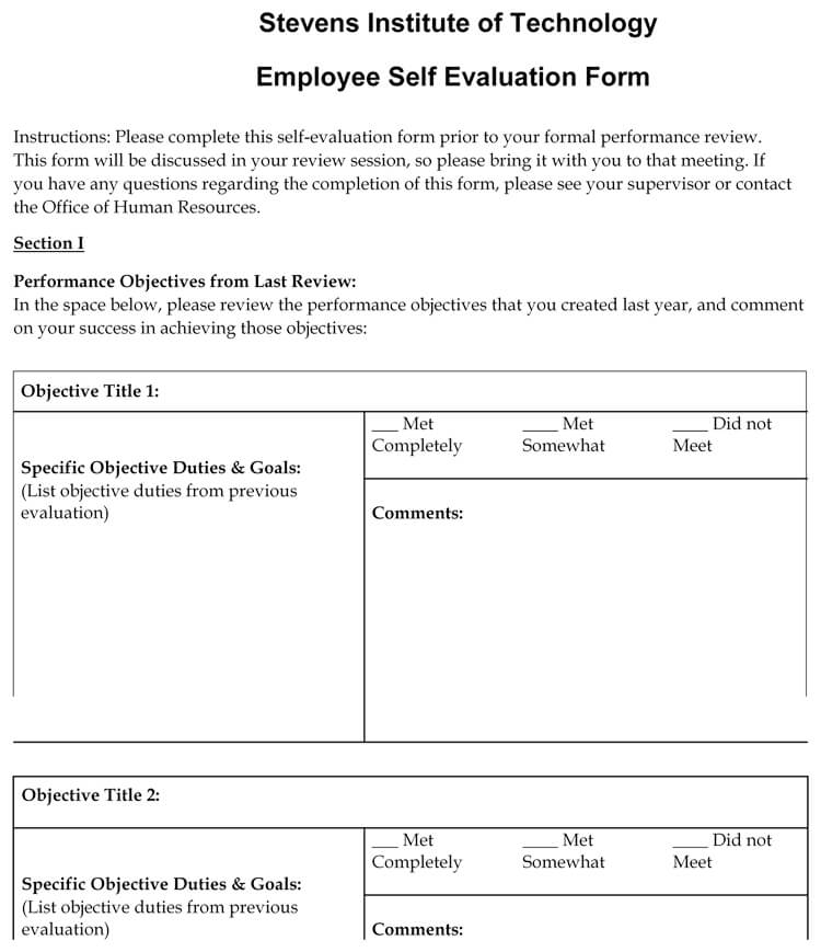 employee self evaluation examples