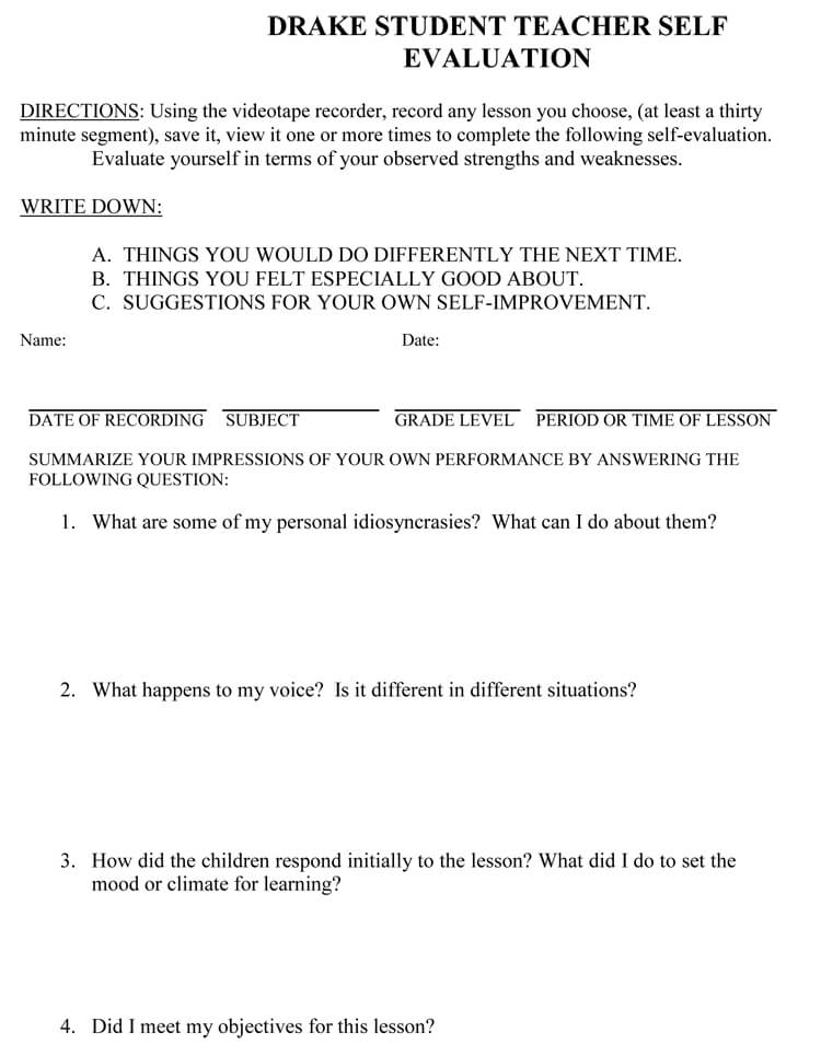 self evaluation examples for work