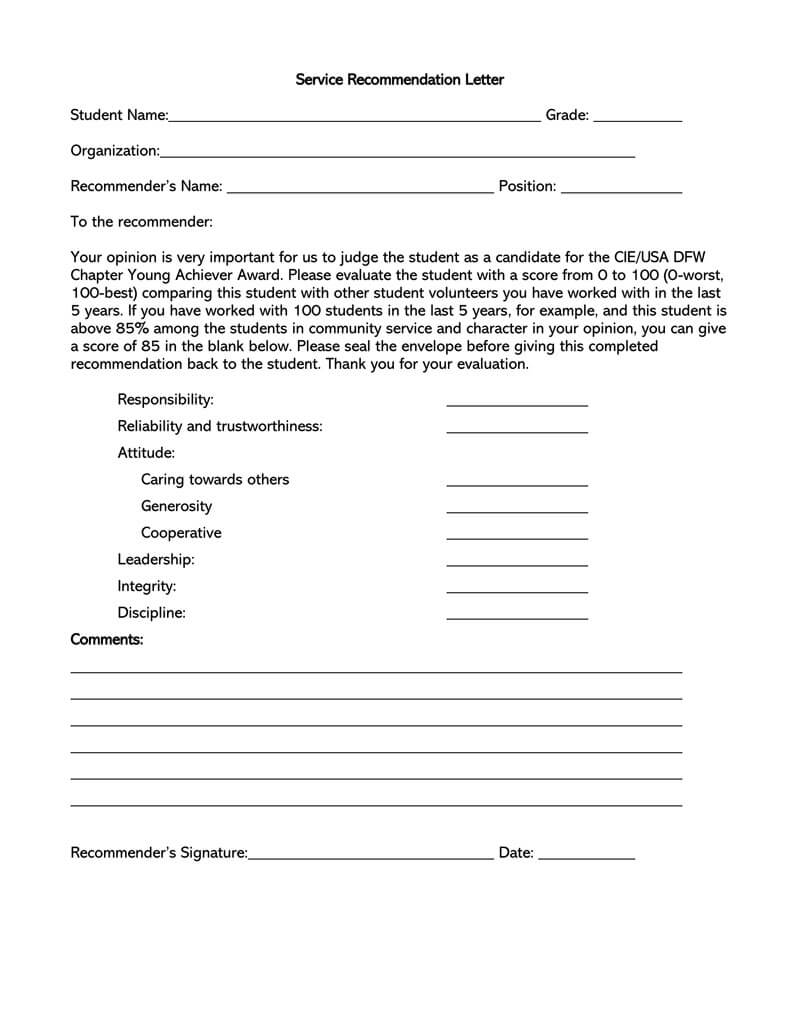 Service recommendation letter sample