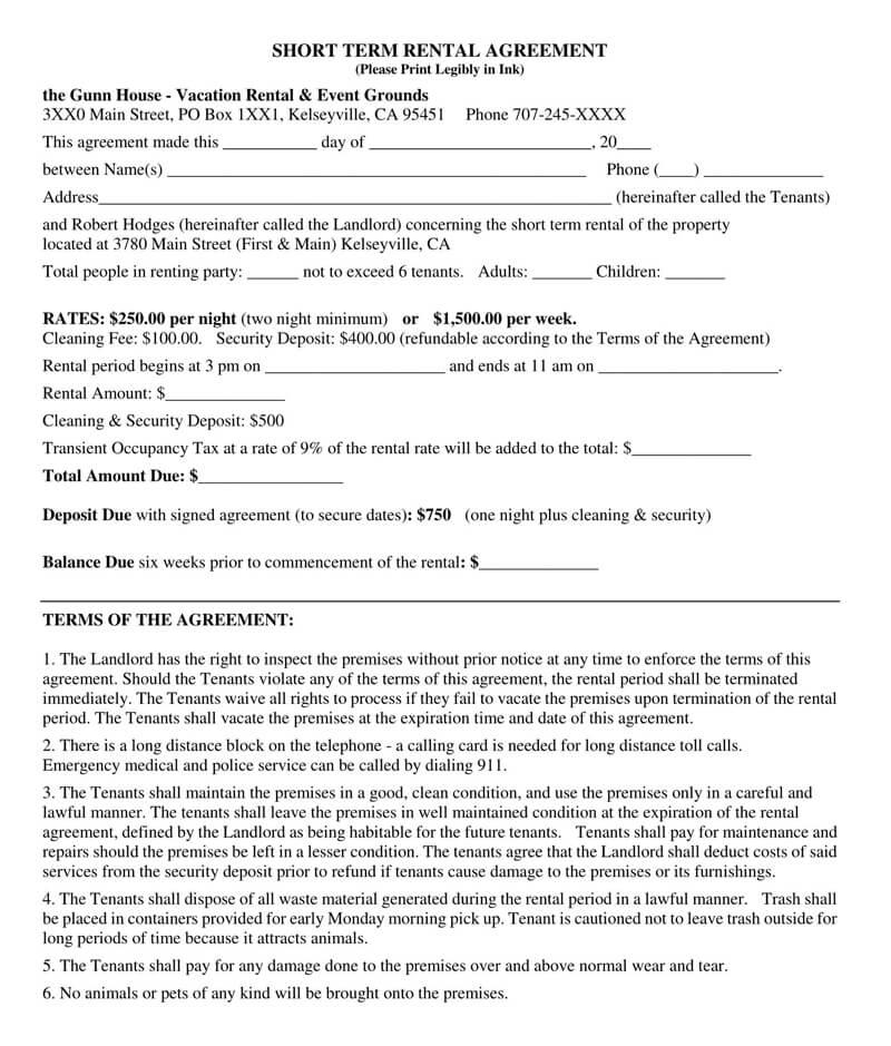 Short-Term Gun House Rental Agreement