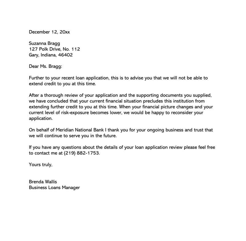 Loan Application Rejection Letter 15 Sample Letters Writing Tips