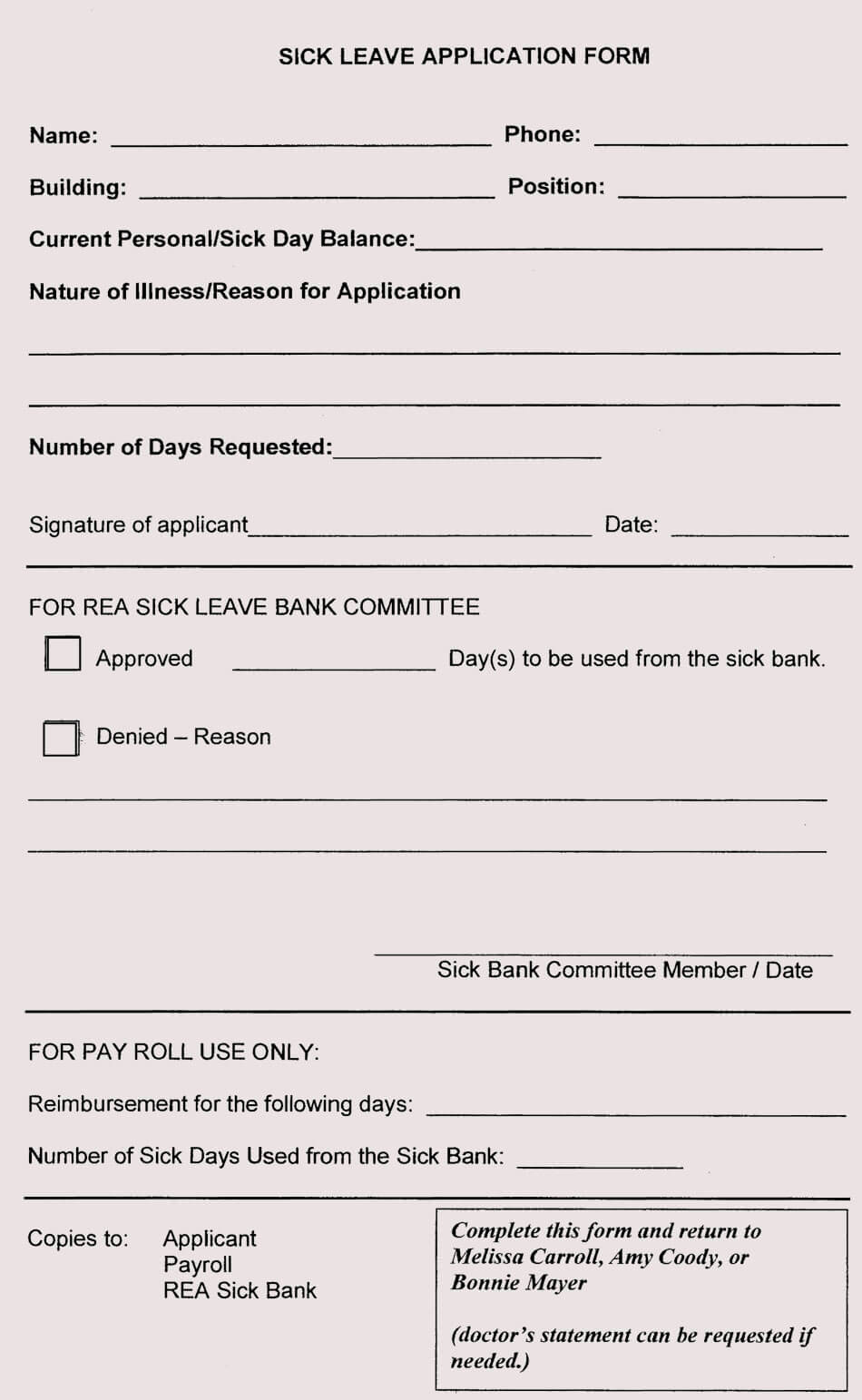 blank leave application form templates  8  pdf samples