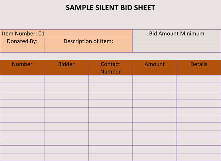sample auction bid sheets