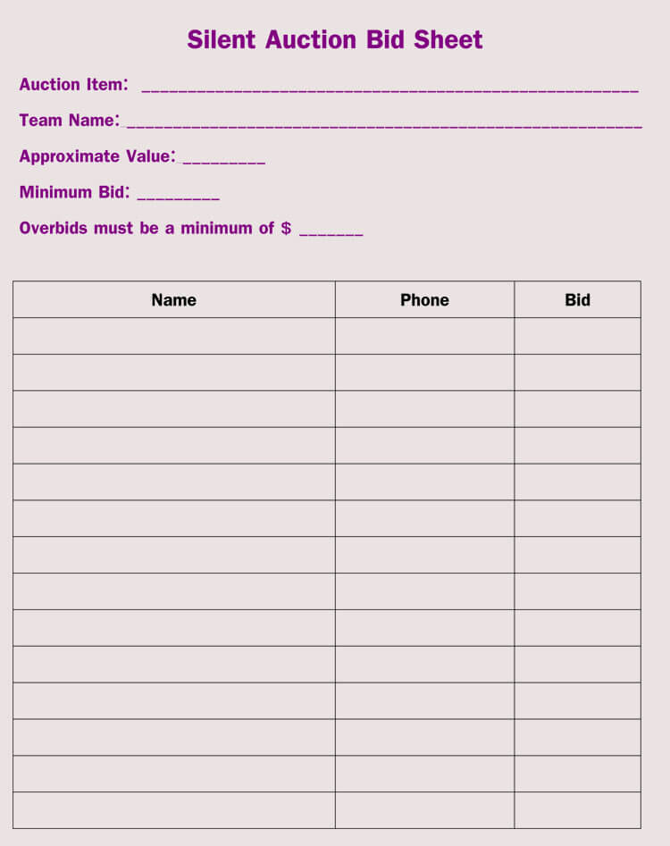 photograph about Free Printable Bid Sheets identify Bid Sheet Templates for Peaceful Auction (within just Term, Excel, PDF