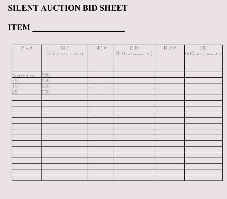 bid sheet templates for silent auction in word excel pdf format