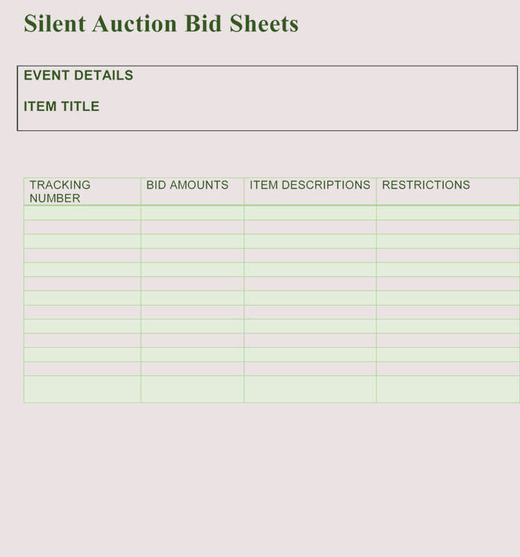 photo about Free Printable Bid Sheets referred to as Bid Sheet Templates for Quiet Auction (in just Phrase, Excel, PDF