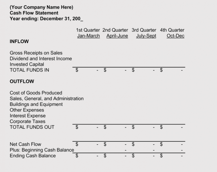 Business Plan Cash Flow Statement Format