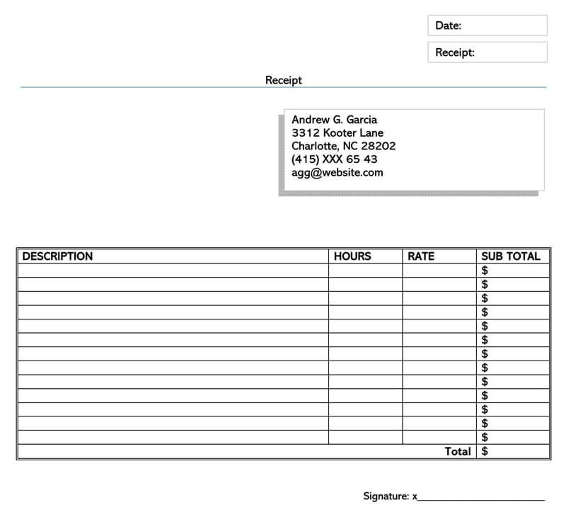 Simple Receipt Design Template