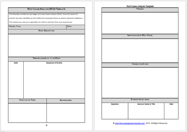 Root Cause Analysis Templates 8 Docs for Word Excel – Rca Template