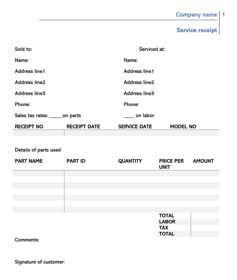 Simple Service Receipt Template