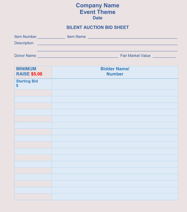 bid sheet templates for silent auction  in word  excel