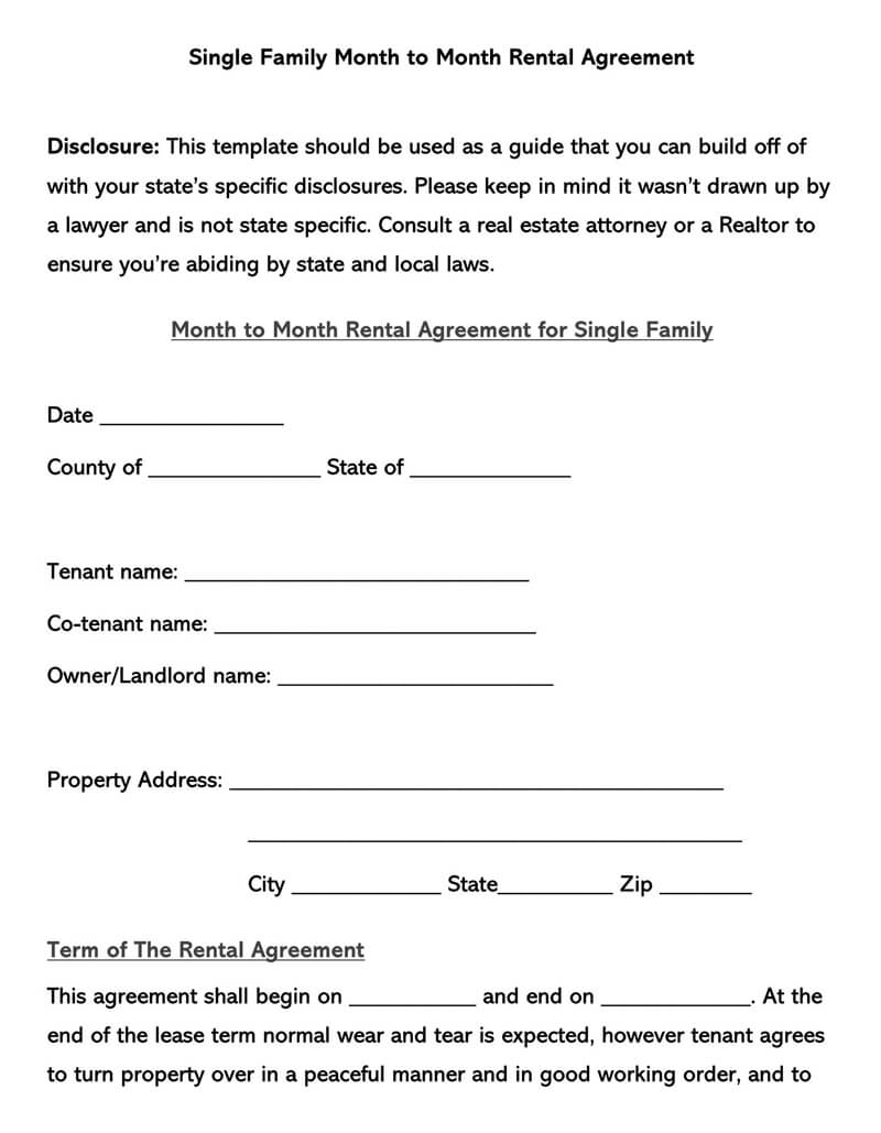 Single Family Month-to-Month Rental Agreement