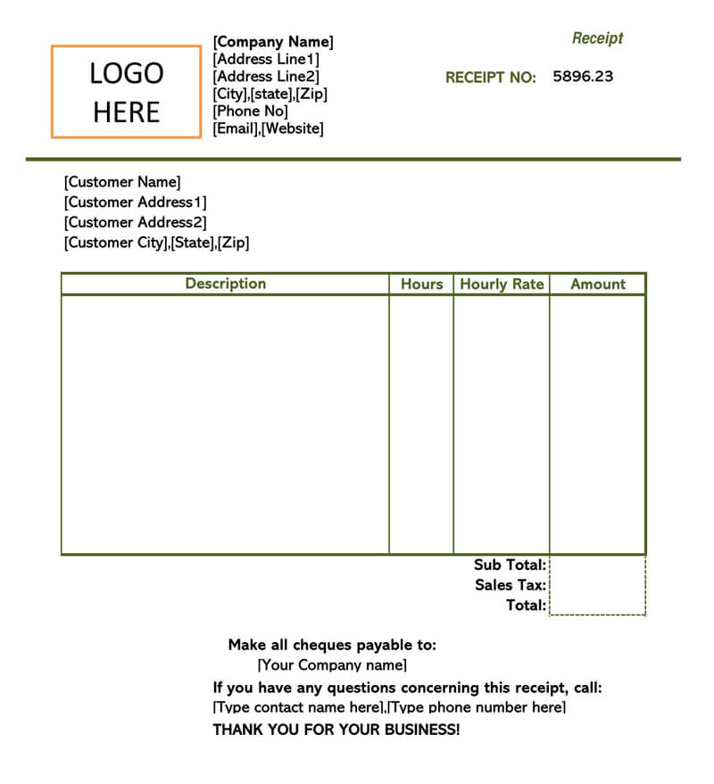 Small Business Service Receipt