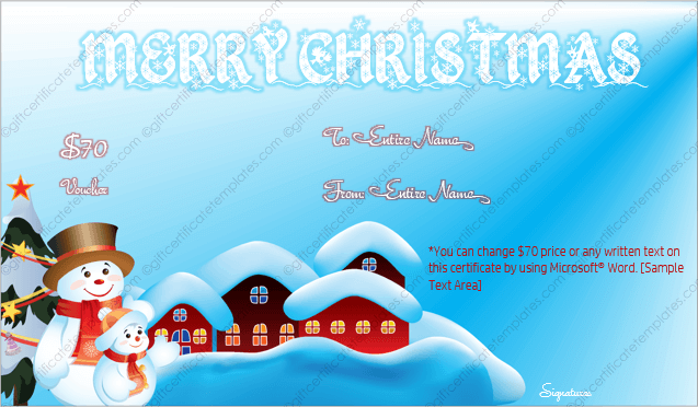 Snow Season Christmas Gift Voucher Template Editable