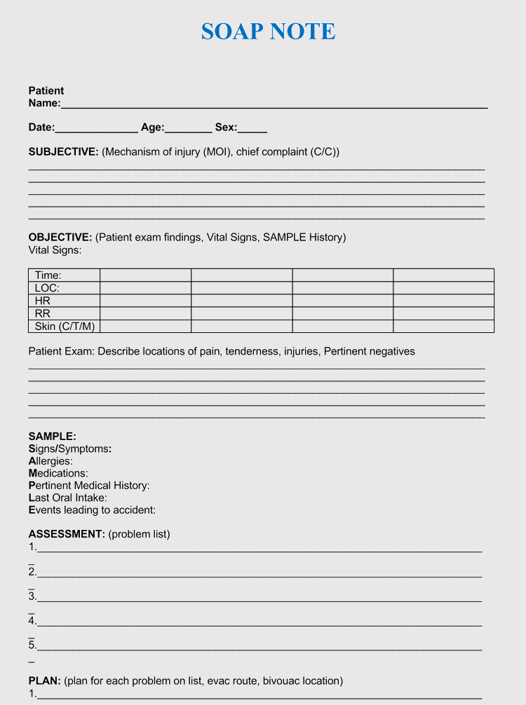 Printable Soap Notes Pdf