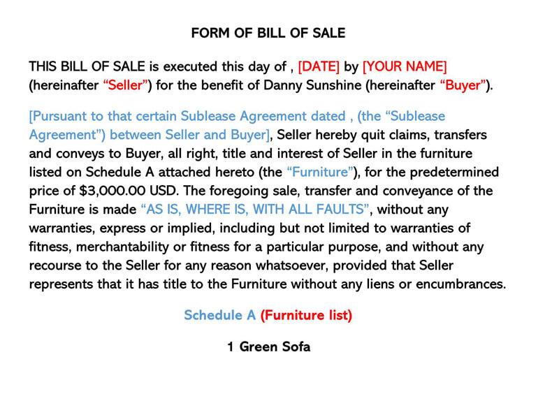 Sofa Furniture Bill of Sale Form