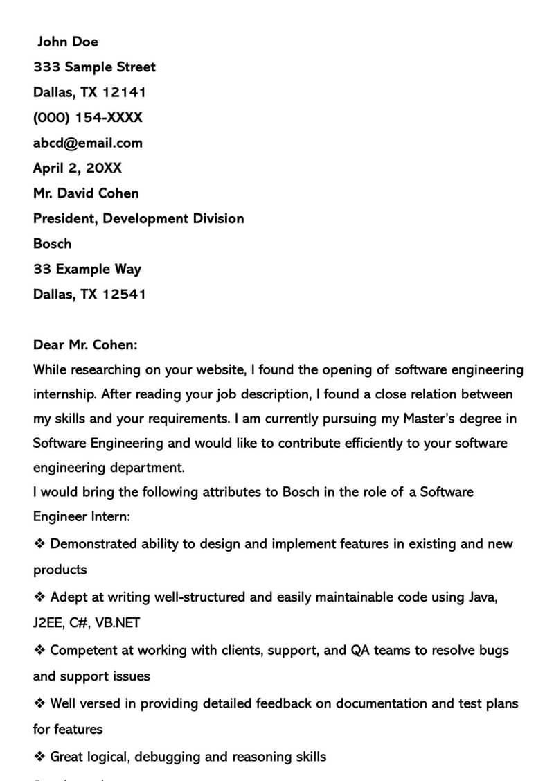 Software Developer Internship Cover Letter