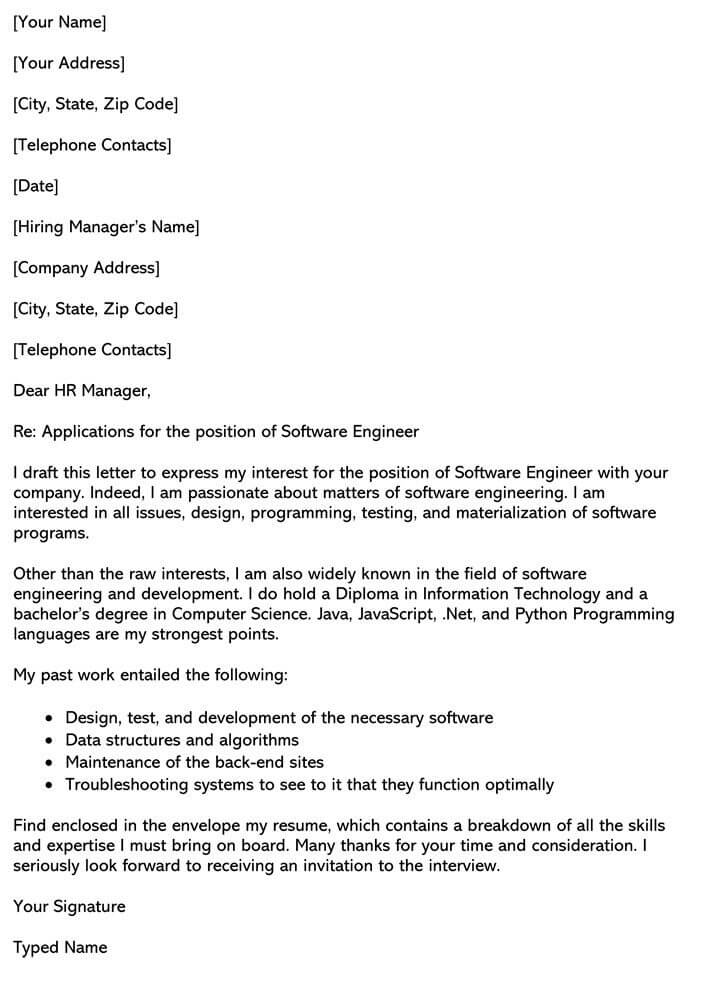 Software Engineering Cover Letter Sample Email Example