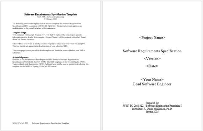 Software Requirements Analysis Template for Word