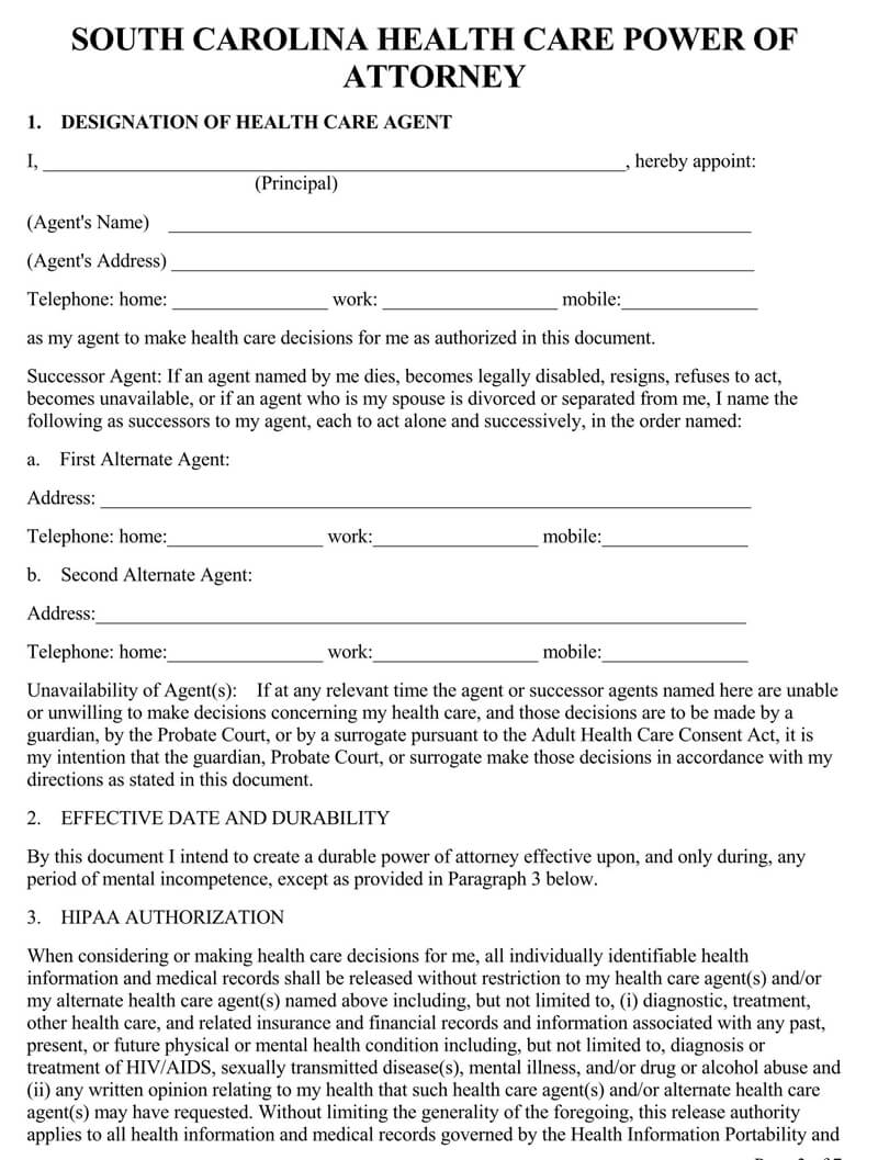 South Carolina Medical POA Form