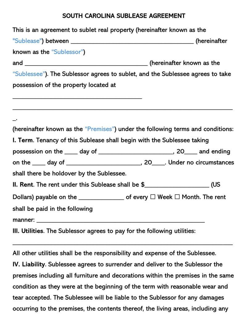 South Carolina SubLease Agreement Template