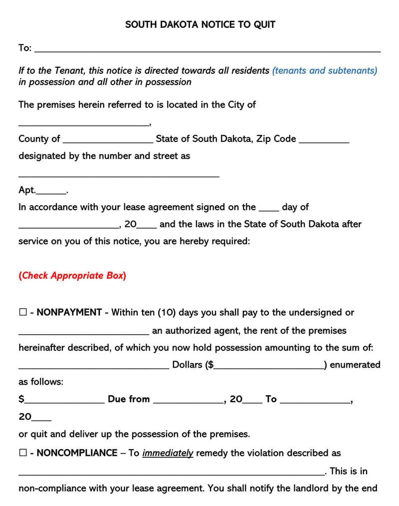 South Dakota Eviction Notice Form